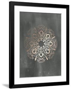 Rose Gold Foil Mandala IV on Black Wash by Chariklia Zarris
