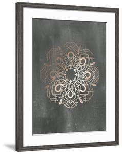 Rose Gold Foil Mandala IV on Black Wash by Chariklia Zarris