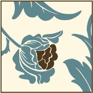 Teal Floral Motif I by Chariklia Zarris