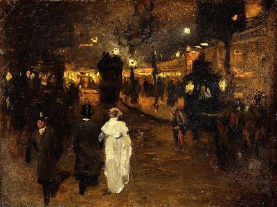 Charing Cross Road at Night, London, C.1905-Frederick Judd Waugh-Giclee Print