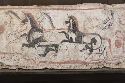 Charioteer and Horses, Painted Tomb Slab Detail, National Archaeological Museum-Eleanor Scriven-Photographic Print