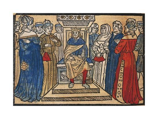 Charlemagne and His Court from the Great Chronicle of French Kings-Robert Gaguin-Giclee Print