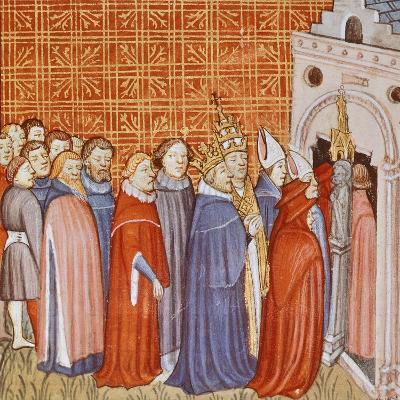Charlemagne and His Retinue Entering a Church, Miniature from the Chronicle of Saint Denis--Giclee Print