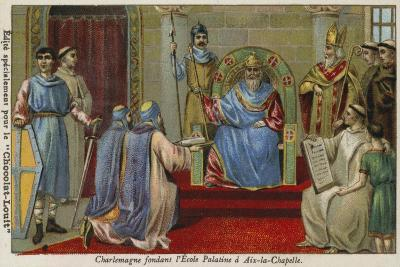 Charlemagne Founding the Palatine School at Aachen, Late 8th Century--Giclee Print