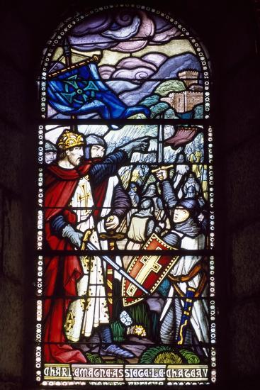 Charlemagne Laying Siege to Castle, Stained-Glass Window from Chateau-Fort De Lourdes Chapel--Giclee Print