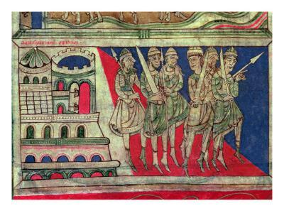 Charlemagne leaving Aachen to travel to Santiago de Compostela, miniature from 'Codice Calixtus'--Giclee Print