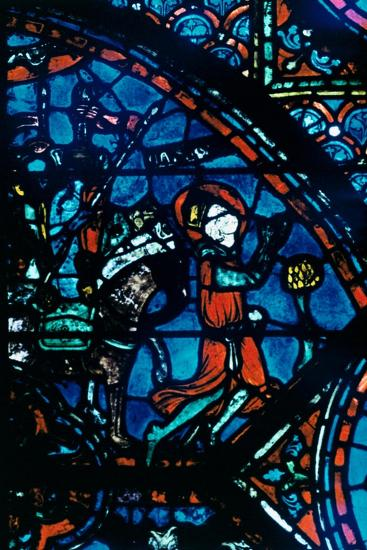 Charlemagne prays, stained glass, Chartres Cathedral, France, c1225. Artist: Unknown-Unknown-Giclee Print
