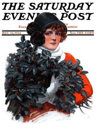 """""""Holly Bouquet,"""" Saturday Evening Post Cover, December 13, 1924"""
