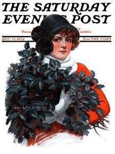 """""""Holly Bouquet,"""" Saturday Evening Post Cover, December 13, 1924 by Charles A. MacLellan"""