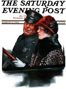 """""""Police Escort,"""" Saturday Evening Post Cover, March 15, 1924 by Charles A. MacLellan"""