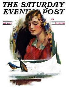"""""""Snow Birds,"""" Saturday Evening Post Cover, March 6, 1926 by Charles A. MacLellan"""