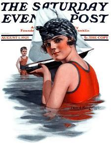 """""""Toy Sailboat,"""" Saturday Evening Post Cover, August 1, 1925 by Charles A. MacLellan"""