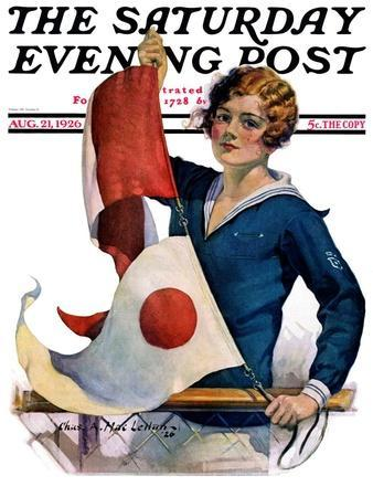 """""""Woman and Signal Flags,"""" Saturday Evening Post Cover, August 21, 1926"""