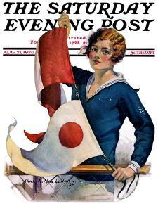 """""""Woman and Signal Flags,"""" Saturday Evening Post Cover, August 21, 1926 by Charles A. MacLellan"""
