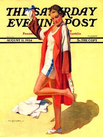 """""""Woman in Beach Outfit,"""" Saturday Evening Post Cover, August 11, 1934"""