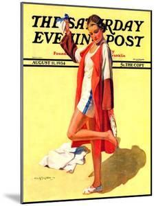 """""""Woman in Beach Outfit,"""" Saturday Evening Post Cover, August 11, 1934 by Charles A. MacLellan"""