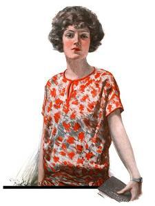 """""""Woman in Floral Print,""""January 27, 1923 by Charles A. MacLellan"""