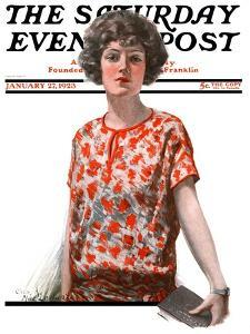 """""""Woman in Floral Print,"""" Saturday Evening Post Cover, January 27, 1923 by Charles A. MacLellan"""