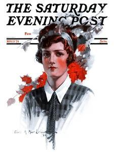 """""""Woman in Tie,"""" Saturday Evening Post Cover, November 15, 1924 by Charles A. MacLellan"""