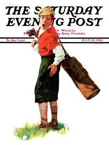 """""""Wounded Caddy,"""" Saturday Evening Post Cover, July 18, 1936 by Charles A. MacLellan"""