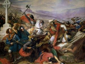 The Battle of Poitiers, 25th October 732, Won by Charles Martel (688-741) 1837 by Charles Auguste Steuben