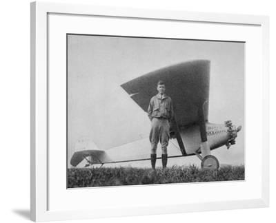Charles Augustus Lindbergh American Aviator with His Ryan Monoplane the Spirit of St. Louis--Framed Photographic Print