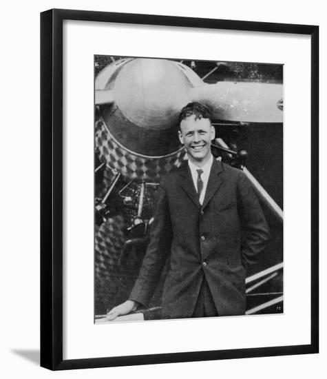 Charles Augustus Lindbergh with the Spirit of St. Louis--Framed Giclee Print