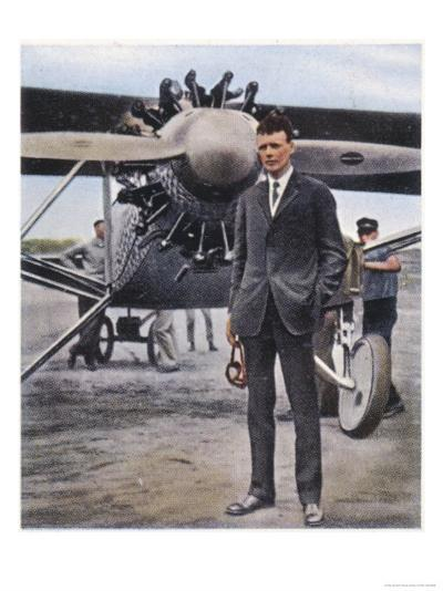 Charles Augustus Lindbergh with the Spirit of St. Louis--Giclee Print
