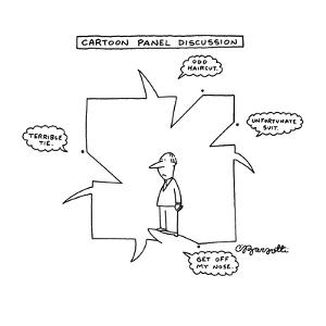 Cartoon Panel Discussion - New Yorker Cartoon by Charles Barsotti