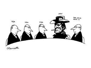 """Five men in business meeting; four of which are in suits, the other is a v?"""" - New Yorker Cartoon by Charles Barsotti"""