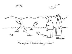 """""""Lawn fish.  They're hell to get rid of."""" - New Yorker Cartoon by Charles Barsotti"""