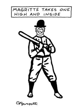 """""""Magritte Takes One High and Inside"""" - New Yorker Cartoon by Charles Barsotti"""