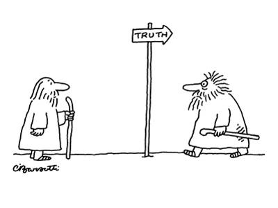 Man watches as another disheveled man returns from direction towards which? - New Yorker Cartoon by Charles Barsotti