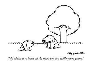 """""""My advice is to learn all the tricks you can while you're young."""" - New Yorker Cartoon by Charles Barsotti"""