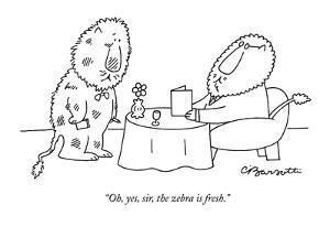 """""""Oh, yes, sir, the zebra is fresh."""" - New Yorker Cartoon by Charles Barsotti"""