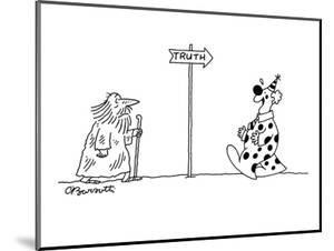 Pilgrim approaching sign that says 'truth'; clown laughing on way back fro? - New Yorker Cartoon by Charles Barsotti