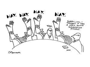 """Surreal horses vote """"Nay"""" on a man's suggestion at a board meeting and the? - New Yorker Cartoon by Charles Barsotti"""