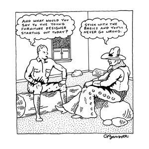 Two cowboys sit in a room surrounded by rocks and logs; one says to the ot? - New Yorker Cartoon by Charles Barsotti