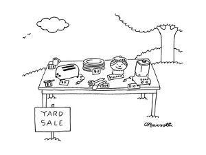 Yard sale with table and cookie jar selling for $10,000. - New Yorker Cartoon by Charles Barsotti