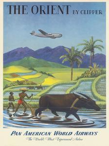 The Orient by Clipper, Boeing Stratocruiser flies over Asian Rice Paddy, Pan American World Airways by Charles Baskerville