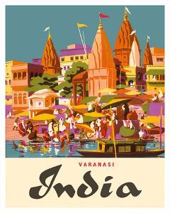 Varanasi India, Ganges River, (Banares, Banaras, Kashi) in Uttar Pradesh, Manikarnika Burning Ghat by Charles Baskerville