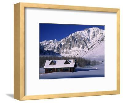 Cabin in Snow, Convict Lake, Sierra NV Mts, CA