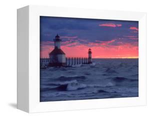 Sunset, Lighthouse, Benton Harbor, MI by Charles Benes