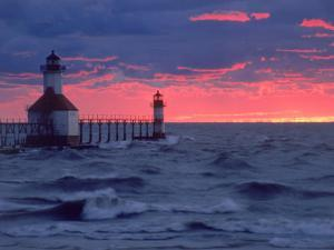 Sunset, Lighthouse, Benton Harbor, MI by Charles Benes