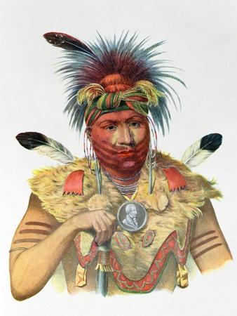"""Ne-Sou-A-Quoit, a Fox Chief, Illustration from """"The Indian Tribes of North America"""""""