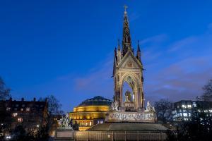 Albert Memorial and Albert Hall at dusk, Kensington, London, England, United Kingdom, Europe by Charles Bowman
