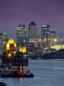 Canary Wharf and Docklands Skyline from Woolwich, London, England, United Kingdom by Charles Bowman