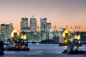 Canary Wharf with Thames Barrier, London, England, United Kingdom, Europe by Charles Bowman