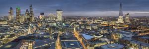 City panorama at dusk, London, England, United Kingdom, Europe by Charles Bowman