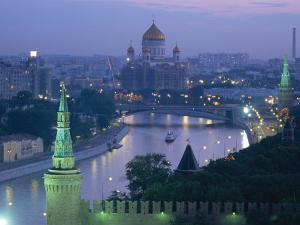 City Skyline and the Moskva River at Dusk, Moscow, Russia by Charles Bowman
